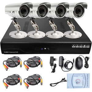 4CH Home Security Surveillance Digital Video Recorder D1 DVR Bullet IR Cameras