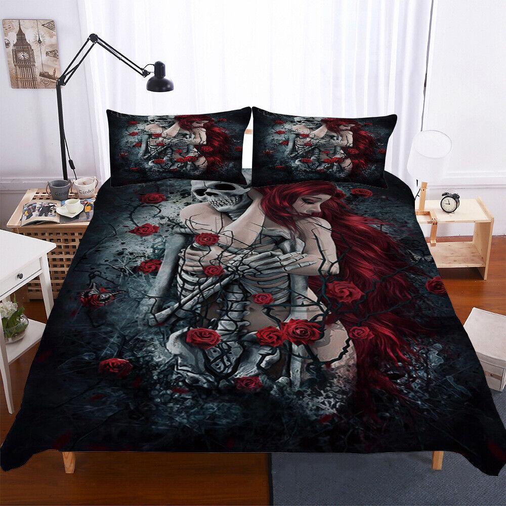 Skull Duvet Cover Set Twin Full Queen King Size Gothic Bedding Set