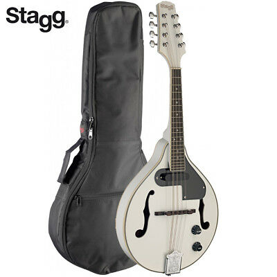 Stagg M50-E Premium A Style Bluegrass Acoustic Electric Mandolin White + Gig Bag