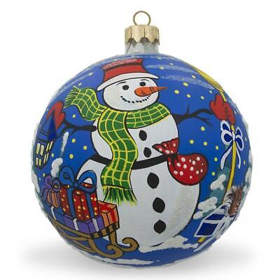 Snowman and Gifts Glass Ball Christmas Ornament 3.25 Inches ()