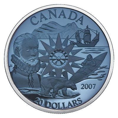 2007 PLASMA $20 DOLLARS INTERNATIONAL POLAR YEAR BLUE SILVER CANADA COIN.