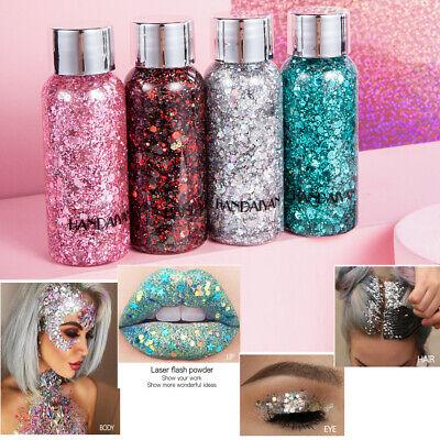 Face Body Glitter Paste Cream Highlighter Gel Hair Paint Cosmetic MakeupTool fa - Hair Glitter