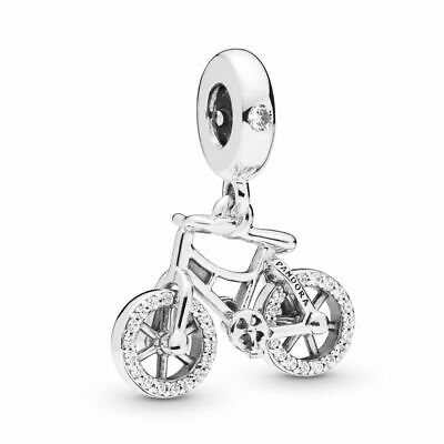 New Authentic Pandora Charms 925 ALE Sterling Silver CZ Bike Bracelet Bead Charm ()