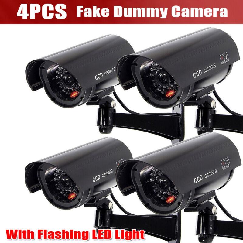 4X Dummy Bullet Fake Security Camera CCTV Home False IR LED W/ Flashing Light