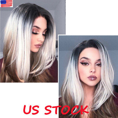 Ladies Women Short Straight Bob Wigs Synthetic Lace Front Hair Ombre Grey - Gray Wigs