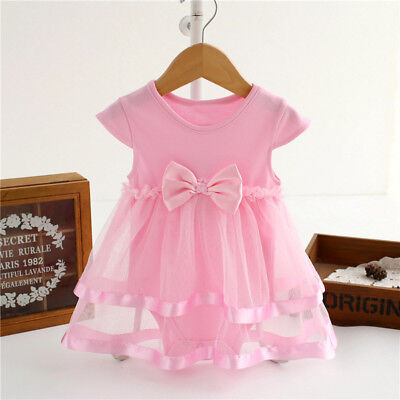 New Style Baby Girls Infant Tutu Bow Dress Jumpsuit Princess Party Dress Clothes (Girls New Clothes)