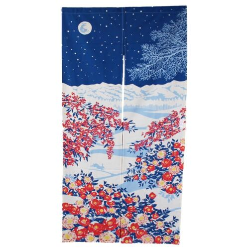 JAPANESE Noren Curtain NEW WINTER SNOW MOON FLOWER FROM JAPAN