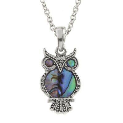 Owl Charm Pendant Fashionable Necklace - Abalone Paua Shell - 18