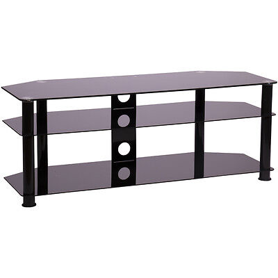 Black glass tv stand 1250mm wide for 32 to 55 inch tv LCD LED smart screen