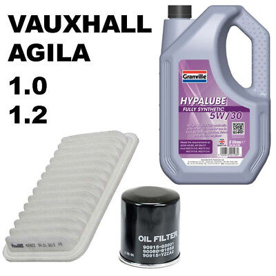 1.0 1.2 Vauxhall Agila Service Kit Oil filter Air Filter 5 litres of 5w30 Oil