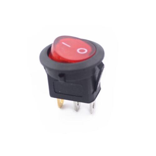 10pc LED Red Light 12V 16A Toggle Spst Round Button Boat Car Auto Rocker Switch