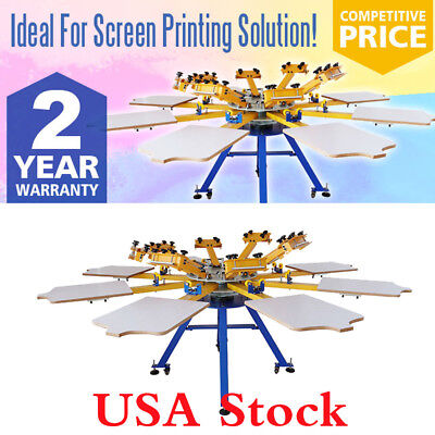 8 Color 8 Station Silk Screen Printing Machine T-shirt Press Printer Equipment