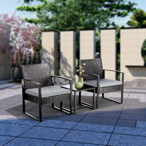 Garden Furniture - Rattan Garden Furniture Set 3 Pcs Wicker Patio Set Table Chairs W/Cushion,Black