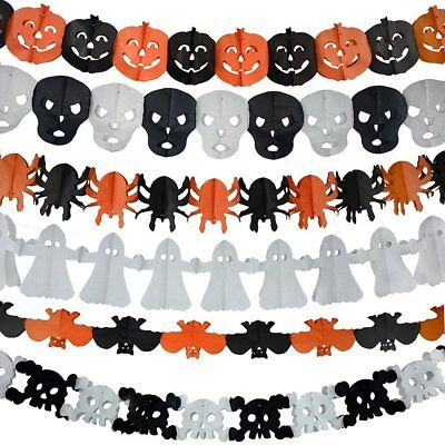 Halloween Tissue Paper Garland (Halloween Paper Garland,6 Different pack, Happy Halloween Party Decoration)