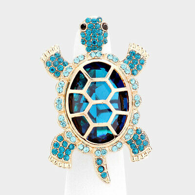 Cocktail Ring Turtle Rhinestone Pave Crystals Wide Stretch Evening Sea Life (Crystal Evening Cocktail Ring)