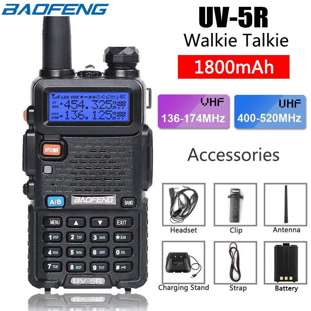 Baofeng UV-5R UHF VHF Dual Band Two Way Ham FM Radio Walkie Talkie Transceiver