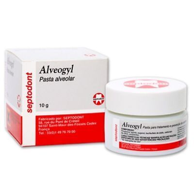 2 Pack Of New Alvogyl Septodont Alveogyl Paste 10gm Dry Socket Treatment
