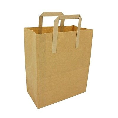 50 x Brown Kraft SOS Paper Tape Handle Carrier Bags Small Craft  Takeaway