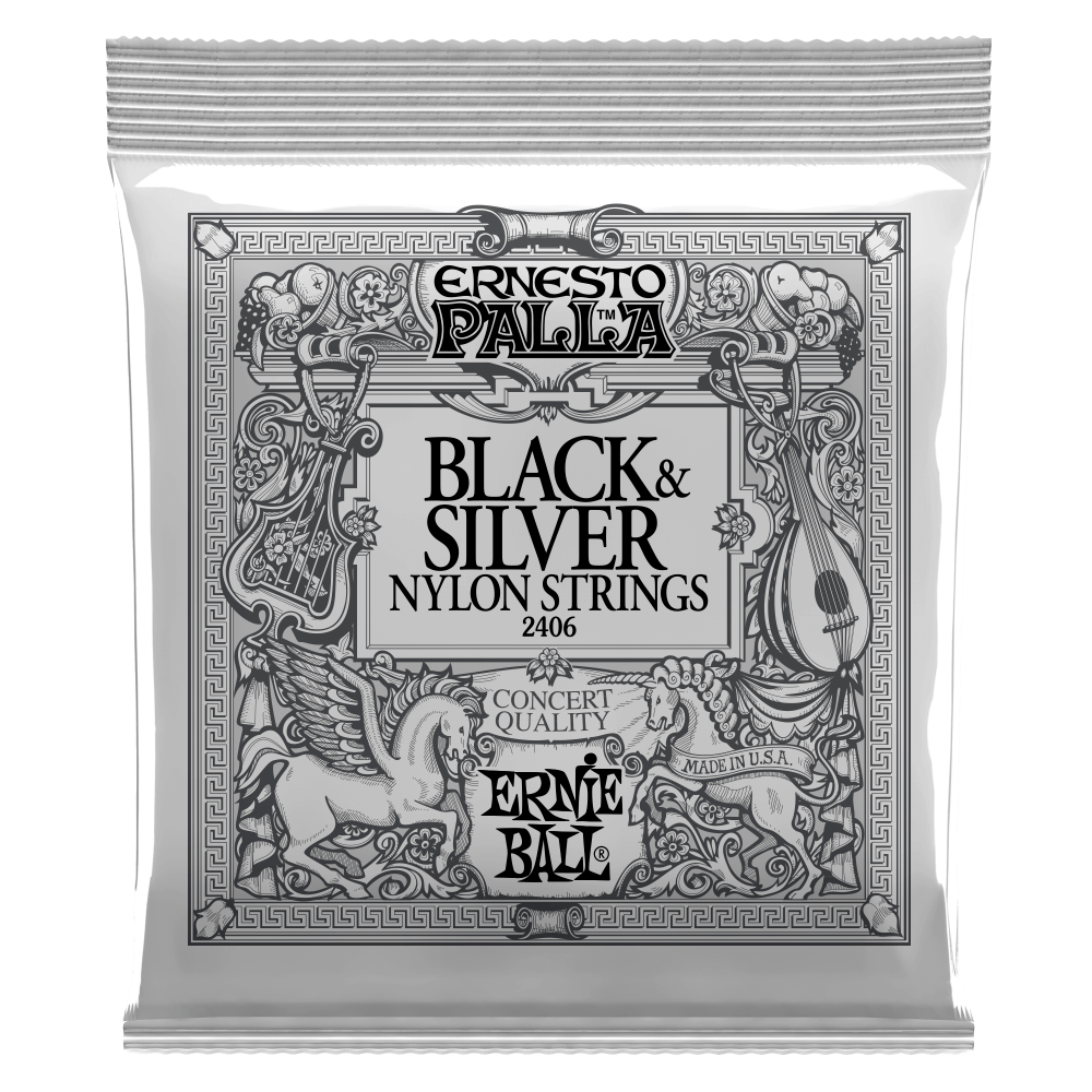 Ernie Ball Ernesto Palla Nylon Black and Silver Classical Ti