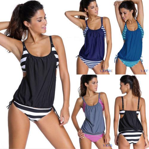 Damen Tankini Set Badeanzug Gestreift Push Up Sommerkleid Schwimmanzug Bademode