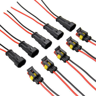 5x 2pin Car Waterproof Electrical Connector Plug With Wire Awg Marine 10cm Te S