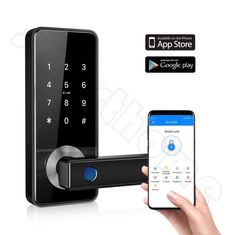 Smart Biometric Fingerprint Door Lock Keyless Entry Handle WIFI Bluetooth APP