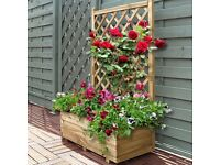 Wooden rectangle planter with trellis