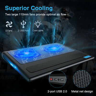 2 Fans Laptop Cooler Stand Cooling Pad Fits 9-16 inch Cooling Pad W/ Blue Light