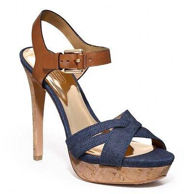 NEW  MSRP $198  COACH DANI High Heels, Q1862, Platform Open-Toe, Denim & Leather