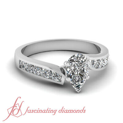 3/4 Ct Pear Shaped VS2-D Color Diamond Womens Gold Engagement Ring GIA Certified