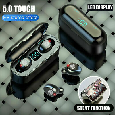 TWS Blue-tooth 5.0 Earphones Mini Invisible Earbud Sport 3D Stereo Sound covid 19 (Blue Earbud Headset coronavirus)