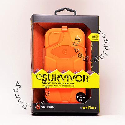 Griffin Survivor iPhone 5 5s iPhone SE Hard Case w/Holster Belt Clip Orange ](orange iphone 5s deals)