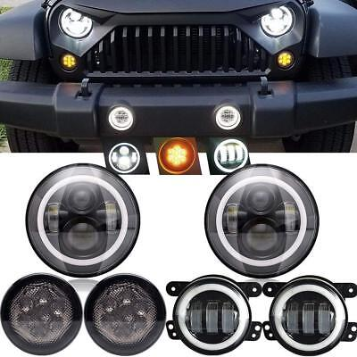 "For Jeep Wrangler JK 07-17 7"" Halo LED Headlight Fog Light Turn Lights Combo Kit"