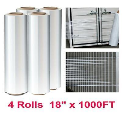 4 Rolls 18 X 1000 Ft 80ga Pallet Wrap Stretch Film Hand Shrink Wrap Stretchable