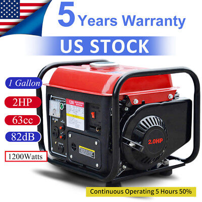 Portable 1200 Watt Gasoline Gas Generator Power 2 Stroke Home Back Up Air Cooled