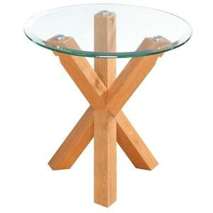 Oak Glass Side Tables