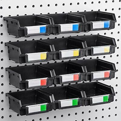 Pegboard Bins - 12 Pack Black Hooks To Any Board Organize Hardware Accessories