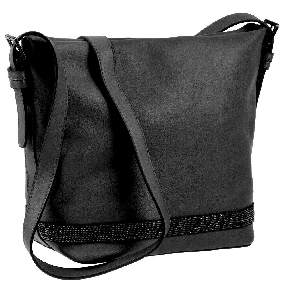 ESPRIT Damen Handtasche - Schwarz - Schulter Umhänge Tasche - Ladys Shoulder Bag