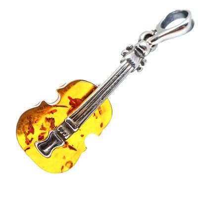 Baltic Amber Violin 925 Sterling Silver Pendant 1 1/2