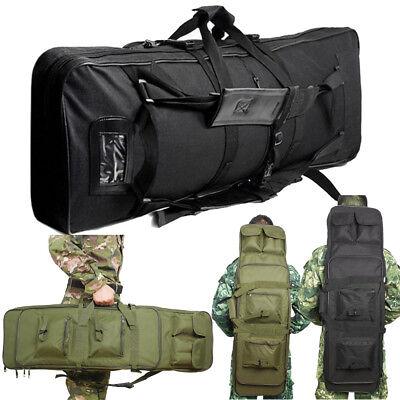 Deluxe Padded Gun Bag Green/Black 2 Strap Rifle Carrying Case Gun Slip Backpack ()