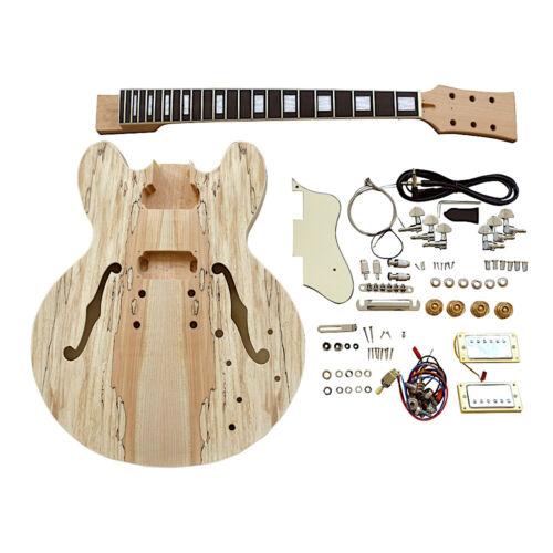 Coban Guitars DIY Guitar Kit ES260 Spalted Maple Cream Fittings Chrome Hardware