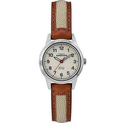 "Timex TW4B11900, Women's ""Expedition"" Brown Leather Watch, Indiglo"