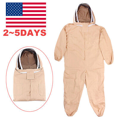 Useful Cotton Full Body Beekeeping Bee Keeping Suit With Veil Hood Xxl Usa