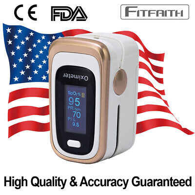 Fda Ce Fitfaith Luxury Gold Pulse Oximeter Blood Oxygen Spo2 Monitor Pr Pi