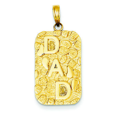 "14K Yellow Gold"" Dad"" Nugget Dog Tag Charm Pendant MSRP $554"