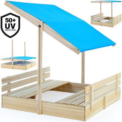 Sandkasten Buddelkiste Spielhaus Holz Sandkiste Sandbox Sand UV-Schutz mit Dach