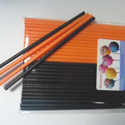 Orange And Black Halloween Cake (50pcs Plastic solid sticks for Cake Pop in Halloween Party - Orange and)