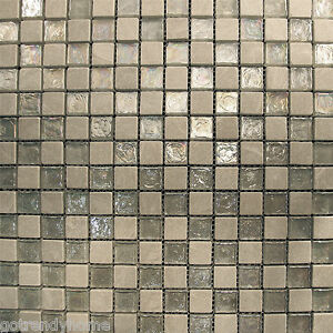 sample silver tone iridescent stone glass mosaic tile