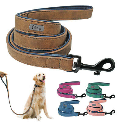4ft Heavy Duty Leather Dog Leash Lead with Padded Handle for Medium Large -
