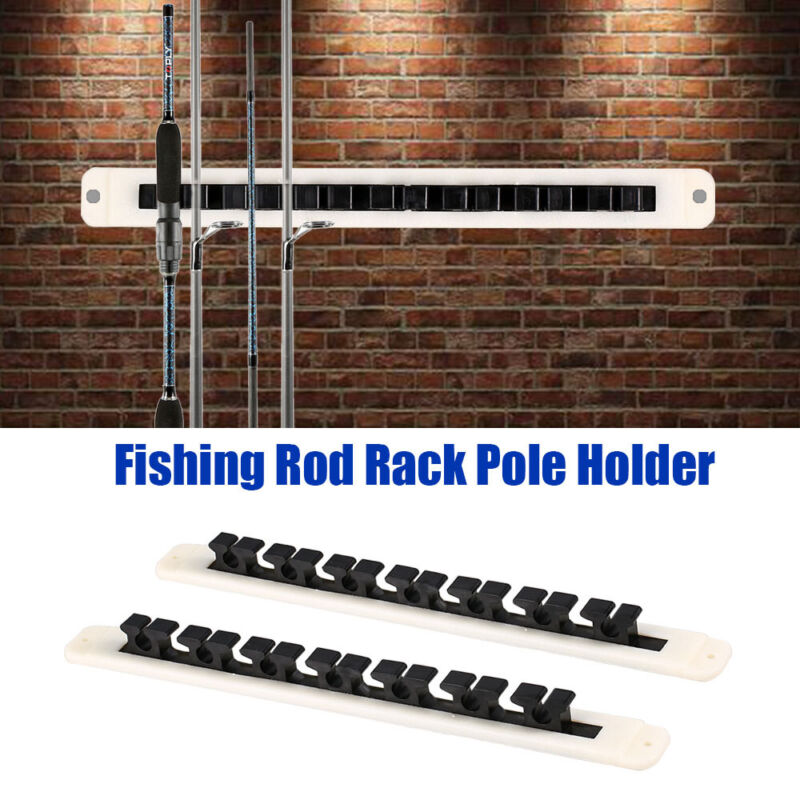 2X 7 Fishing Rods Wall Mount Rack Horizontal Vertical Holder Pole Stand Storage